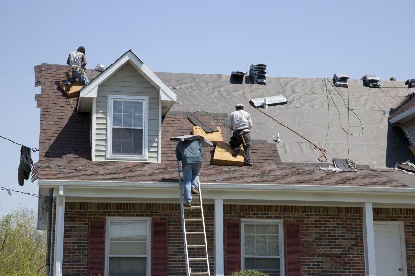 Roof installation in progress